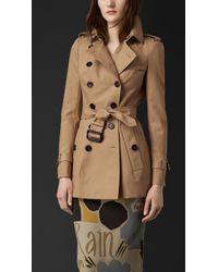 Burberry Cotton Gabardine Trench Jacket - Lyst