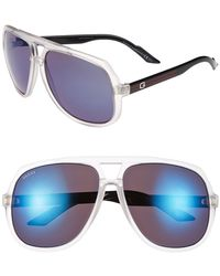 Gucci Women'S Vintage Inspired Stripe 63Mm Aviator Sunglasses - Crystal Blue/ Blue Mirror - Lyst