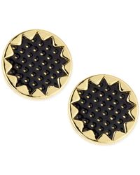 House of Harlow 1960 - Perforated Leather Starburst Button Stud Earrings Black - Lyst
