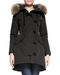 Moncler Asymmetricbutton Jacket with Coyote Fur Trim - Lyst