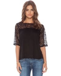 Michael Stars Boatneck with Lace Yoke Top - Lyst