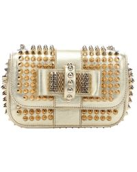 Christian Louboutin Metallic Gold Leather 'Sweety Charity' Spiked Shoulder Bag - Lyst