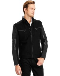Kenneth Cole Reaction Mixed Media Waister Jacket - Lyst