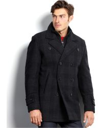 Vince Camuto - Storm System Waterproof Wool-Blend Plaid Pea Coat - Lyst