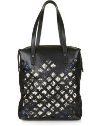 Topshop Womens Online Exclusive Premium Leather Diamond Cutout Shopper  Black - Lyst
