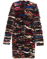 Diane Von Furstenberg Multicoloured Fur Jacket - Lyst