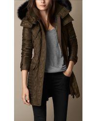 Burberry Fur Trim Multi Quilt Parka - Lyst