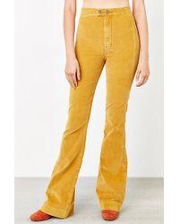 BDG Farrah Corduroy Flare Pant - Gold - Orange