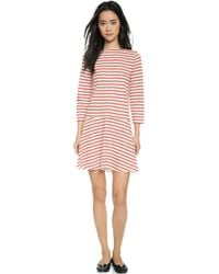 Tory Burch Linen Jersey Boat Neck Dress - Brilliant Red Stripe - Lyst