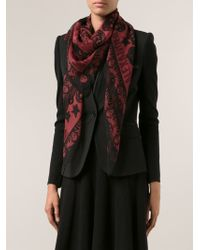 Alexander McQueen Red Printed Scarf - Lyst