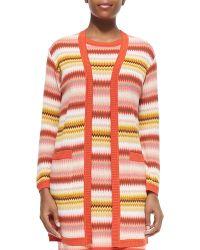 Missoni Long Zigzag-Striped Open Cardigan - Lyst