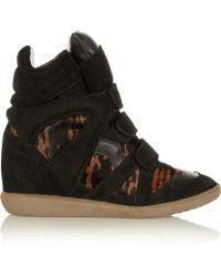 Isabel Marant Benett Calf Hair And Suede Concealed Wedge Sneakers - Lyst