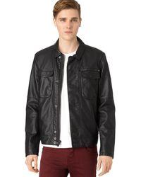 Calvin Klein Jeans Faux-Leather Moto Jacket - Lyst