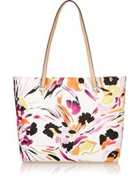 Diane von Furstenberg Ready To Go Leather-Trimmed Printed Faux Leather Tote - Lyst