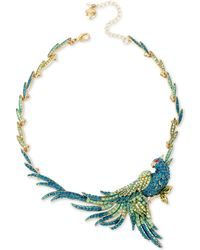 Betsey Johnson | Gold-tone Blue And Green Pavé Bird Statement Necklace | Lyst