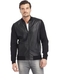 Kenneth Cole Coated Zip Up Jacket - Lyst