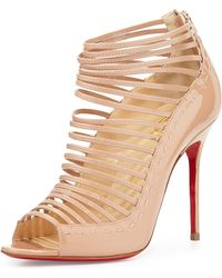Christian Louboutin Gortika Patent Strappy Open-toe Red Sole Bootie - Lyst