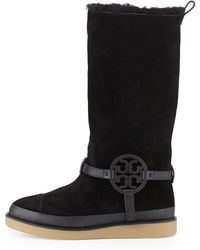 Tory Burch Dana Shearling Lined Suede Logo Boot - Lyst
