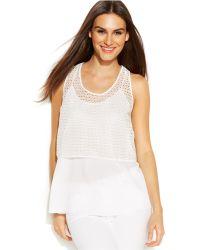 DKNY Sleeveless Crochet Layered-Look Top - Lyst
