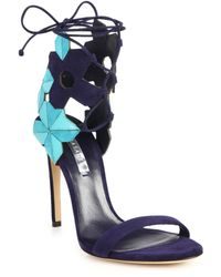 Casadei Two-Tone Geometric Suede Sandals - Lyst