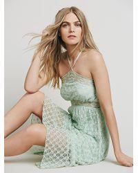 Free People Womens Hi Neck Babydoll Lace Dress - Lyst