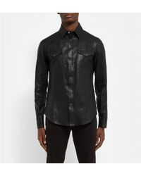 Saint Laurent Leather Western Shirt - Lyst