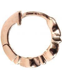 Stone - Mini Créole Yasmine 18Kt Rose Gold Hoop Earring With White Diamonds - Lyst