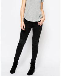 ELEVEN PARIS Biker Skinny Jeans - Black