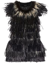 Isabel Marant Cadzi Feather And Faux Raffia Vest - Lyst