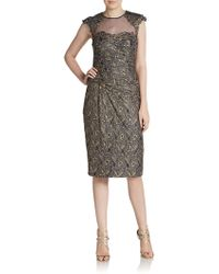 Teri Jon Embellished Metallic Lace Dress - Lyst