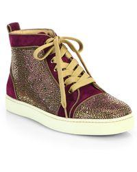 Christian Louboutin Louis Woman Velour High-Top Sneakers purple - Lyst