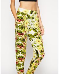 Asos Peg Pants in Tropical Floral Print - Lyst