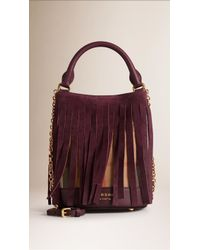 1f1433d6084e Burberry - The Small Bucket Cotton and Suede Bag - Lyst
