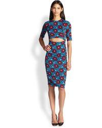 Suno Cutout Floral-print Stretch Silk Dress - Lyst