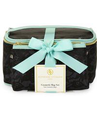 Adrienne Vittadini - 2-Piece Black Lace Cosmetic Bag Set - Lyst