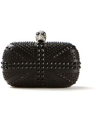 Alexander McQueen Skull Black Leather Clutch Embellished with Black Beads - Lyst