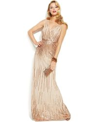 Adrianna Papell Sleeveless Sequin Illusion Gown - Lyst