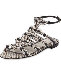 Jason Wu Snakeskin Strappy Flat Sandal - Lyst