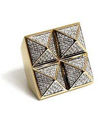 Noir Four Stud Pyramid Ring - Lyst