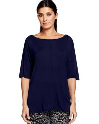 Michael Stars Elbow Sleeve Top With Open Back Drape - Lyst