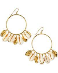 Tory Burch Shell Mikah Hoop Earrings - Lyst