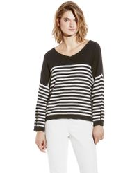 Vince Camuto Striped V-Neck Sweater - Lyst