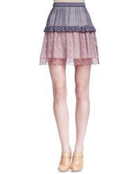 Chloé Patchwork Tiered Mini Skirt multicolor - Lyst