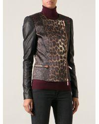 Thomas Wylde Leopard Print Biker Jacket - Lyst
