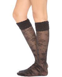 Alice + Olivia   Alice Olivia Lace Ruffle Top Knee High Socks Black   Lyst