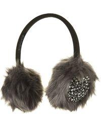 Topshop Embellished Faux Fur Earmuffs - Lyst