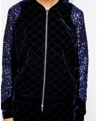 American Retro - Velvet Jacket With Contrast Sleeves - Lyst