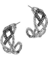 John Hardy Classic Chain Silver Lava Woven Braided Saddle Hoop Earrings with Black Sapphire - Lyst