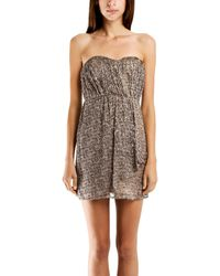 Twelfth Street Cynthia Vincent Cynthia Vincent Strapless Party Dress In Leopard - Brown