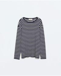Zara Cut Work Knit Tshirt - Lyst